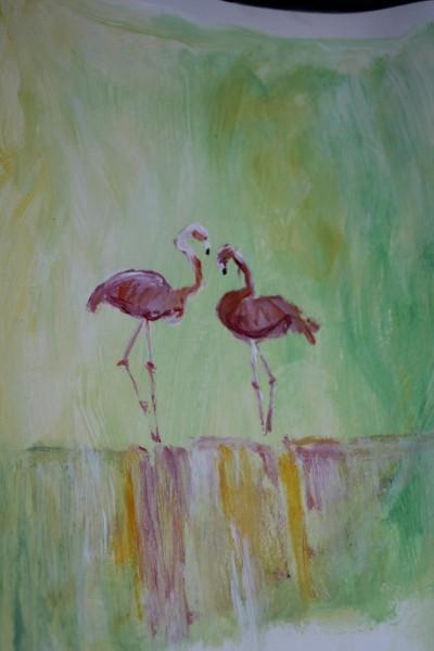 Flamingo''s van acryl