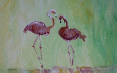 Flamingo's en een oud fotoboek