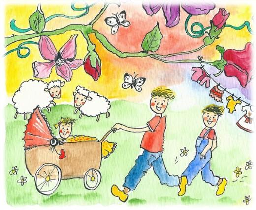Jongentjes met kinderwagen